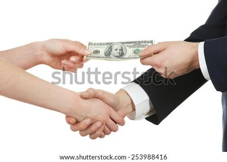 Businessman paying money isolated on white #253988416