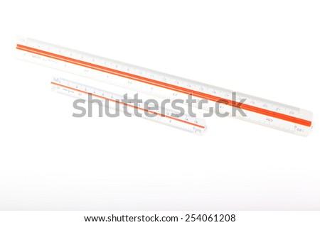 A aluminum ruler shaped triangle. #254061208