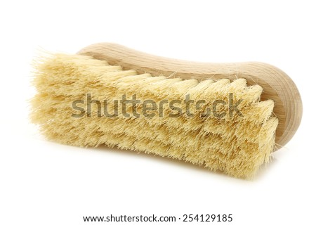 wooden household brush on a white background #254129185