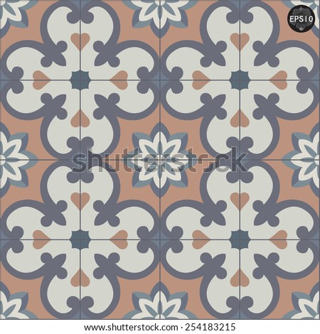 Abstract vintage geometric wallpaper pattern seamless background. Vector illustration #254183215