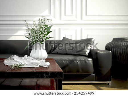 living room with a modern couch in an apartment. 3d rendering #254259499