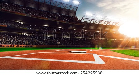 Professional baseball grand arena in the sunlight Royalty-Free Stock Photo #254295538