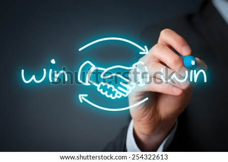 Win-win partnership strategy concept. Businessman draw win-win scheme with handshake partnership agreement. #254322613