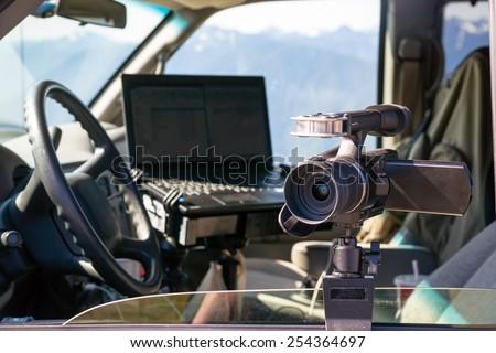 Photographers Gear Van Cockpit Professional Jounalist Video Camera Laptop Computer #254364697