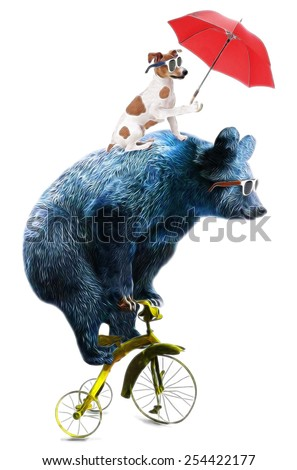 Bear and dog circus show illustration. Performance of the bear on bike.T-shirt graphics.Cute cartoon characters.Animal print.
