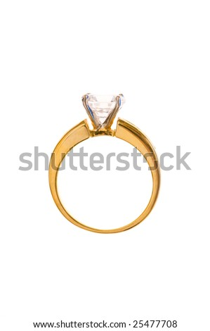 Golden ring isolated on the white background #25477708