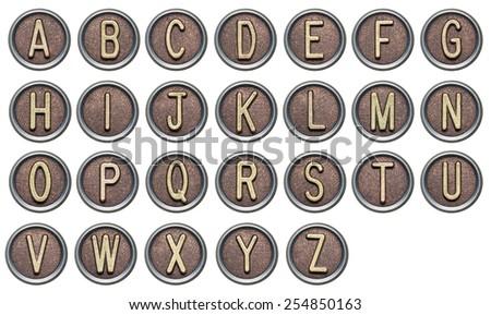 Metal button alphabet letters on white
