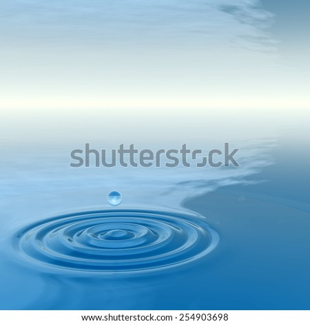 Concept or conceptual blue liquid drop falling in water splash background with ripples and waves, metaphor to nature, natural, summer, spa, drink, cool, business, environment, rain or health design #254903698
