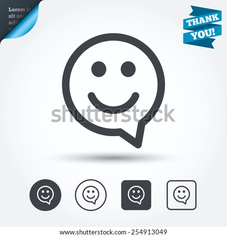 Happy face chat speech bubble symbol. Smile icon. Circle and square buttons. Flat design set. Thank you ribbon. Vector Royalty-Free Stock Photo #254913049