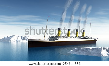 Famous Titanic ship floating among icebergs on the water by cloudy day - 3D render Royalty-Free Stock Photo #254944384