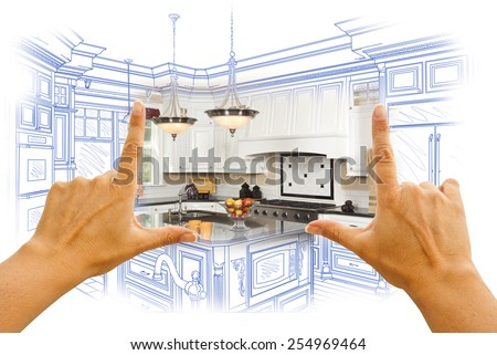 Female Hands Framing Custom Kitchen Design Drawing and Photo Combination. #254969464