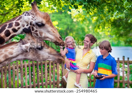 Happy family, young mother with two children, cute laughing toddler girl and a teen age boy feeding giraffe during a trip to a city zoo on a hot summer day Royalty-Free Stock Photo #254980465