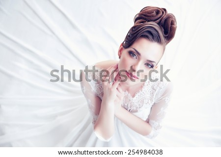 Closeup portrait of young gorgeous bride  Royalty-Free Stock Photo #254984038