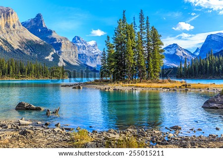 Spirit Island in Maligne Lake, Jasper National Park, Alberta, Canada Royalty-Free Stock Photo #255015211
