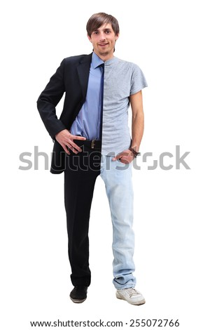 Young man standing half in a t-shirt  and business clothing #255072766