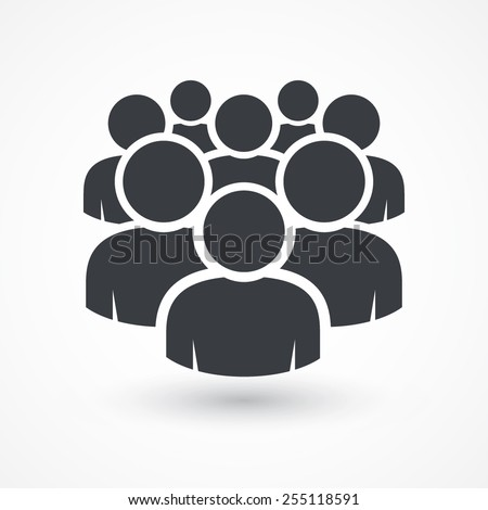 Illustration of crowd of people icon silhouettes vector. Social icon. Flat style design. User group network. Corporate team group. Community member icon. Business team work activity. Staff unity icon  Royalty-Free Stock Photo #255118591