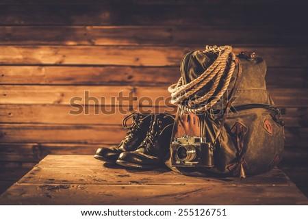 Traveller concept in a wooden interior