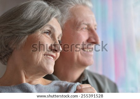 Portrait of a happy senior couple at home #255391528