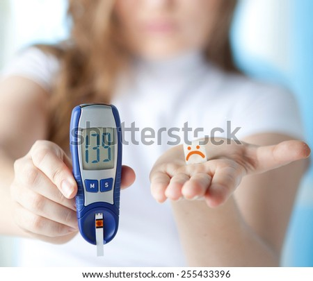 Young Beautiful Woman with Diabetes in Depression Lying on the Bed with Glucose Level Blood Test  #255433396