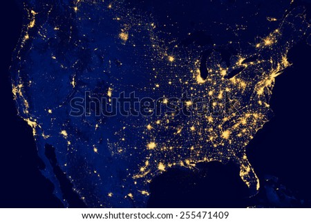 Nocturnal aerial view of the U.S.A. , Highways lighted.N.A.S.A. Public Image Edited. Royalty-Free Stock Photo #255471409