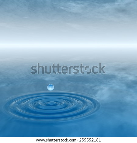 Concept or conceptual blue liquid drop falling in water splash background with ripples and waves, metaphor to nature, natural, summer, spa, drink, cool, business, environment, rain or health design #255552181