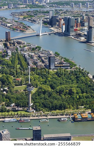 Aerial view of the city of Rotterdam with Euromast, Erasmus bridge, railway bridge and building De Rotterdam, the Netherlands. #255566839