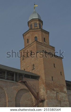 The brick tower of the Kremlin wall. Veliky Novgorod, Russia #255580564