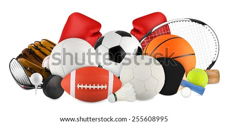 sports equipment on white background Royalty-Free Stock Photo #255608995