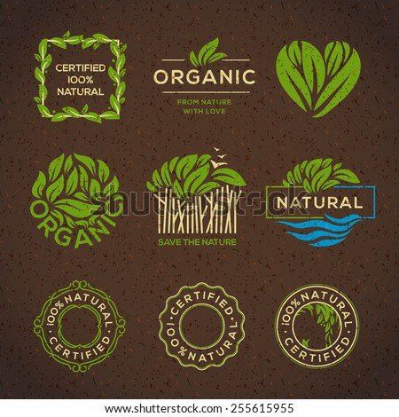 Organic food labels and elements, set for food and drink, restaurants and organic products vector illustration. Royalty-Free Stock Photo #255615955