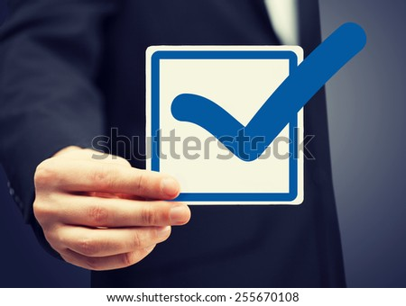 picture or closeup of checkbox and blue mark in it #255670108
