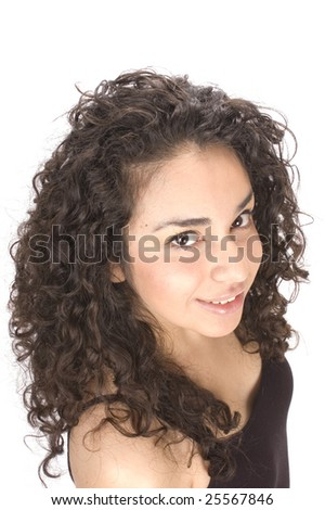 Beautiful young Hispanic woman smiling up at the viewer #25567846
