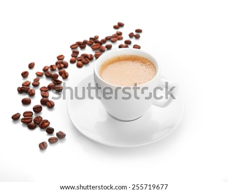 Cup of coffee isolated on white #255719677