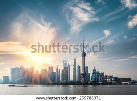 shanghai in sunny morning ,  huangpu river and pudong skyline