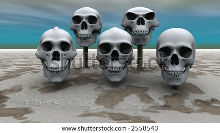 3d render of skulls mounted on sticks in a row #2558543