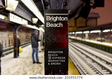 BROOKLYN, NEW YORK - FEBRUARY 21, 2015: Brighton Beach MTA Subway Station on a winter's night. #255955774