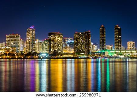 The San Diego skyline at night, seen from Centennial Park, in Coronado, California.