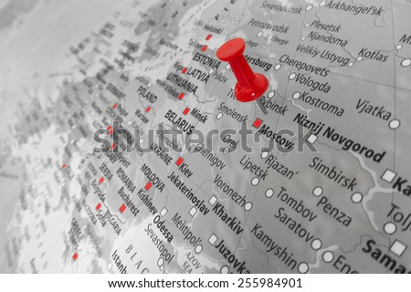 Red marker over Russia Royalty-Free Stock Photo #255984901