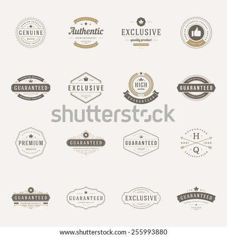 Retro Vintage Premium Quality Labels set. Vector design elements, signs, logos, identity, labels, badges, logotypes, stickers and stamps. Satisfaction, Guaranteed, Highest, Best choice and other text. Royalty-Free Stock Photo #255993880