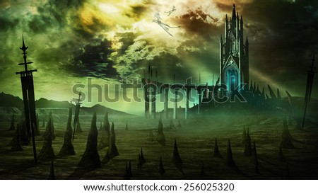 Gloomy scenery with fantasy tower,broken bridge and dragons