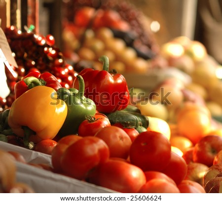 A picture of fresh tomatoes, bell peppers and other vegetables.  Look for more in MY PORTFOLIO