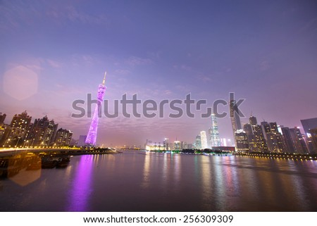 night skyline and modern cityscape in guangzhou at riverside #256309309