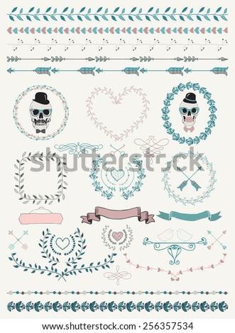 Colorful Hand-Drawn Doodle Seamless Borders and Design Elements. Decorative Flourish Frames, Wreaths, Laurels. Valentine's Day. Wedding. Illustration. Clip Art
