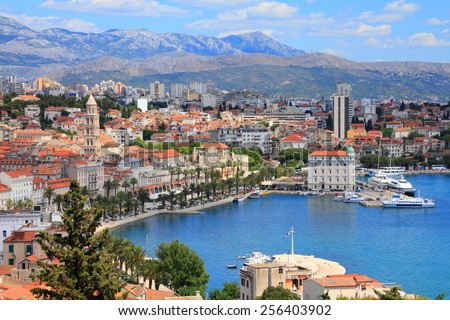 Split, Croatia (region of Dalmatia). UNESCO World Heritage Site. Mosor mountains in background. Royalty-Free Stock Photo #256403902