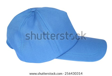 Blue color baseball caps isolated on white background #256430314