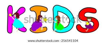 Happy children with word kids -Vector illustration   #256541104