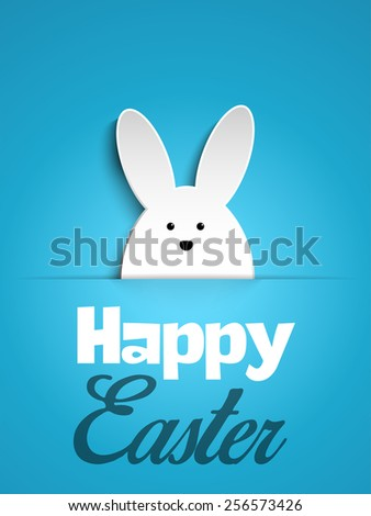 Vector - Happy Easter Rabbit Bunny on Blue Background #256573426