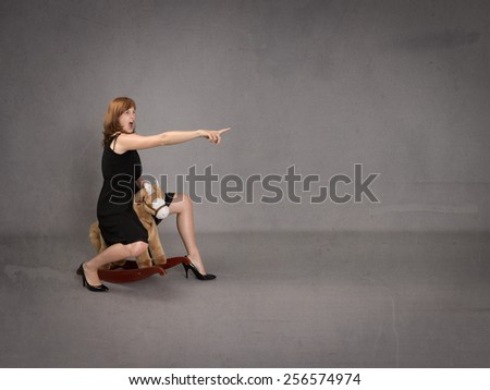 business woman indicate with finger