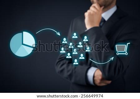 Marketing strategy - segmentation, targeting, and positioning. Visualization of marketing strategy process.