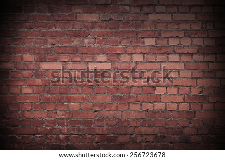 Close up of a Red Worn Brick wall #256723678