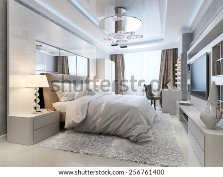 luxury bedroom interior, 3d picture